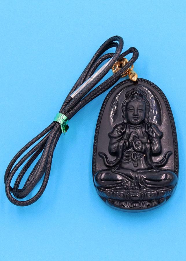 Dây chuyền Phật Như Lai Đại Nhật - thạch anh đen 5cm DETEN5 - dây dù - tuổi Mùi, Thân
