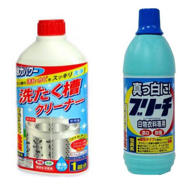 Combo chai nước tẩy lồng máy giặt 400ml + nước tẩy quần áo 600ml Rocket nội địa Nhật Bản