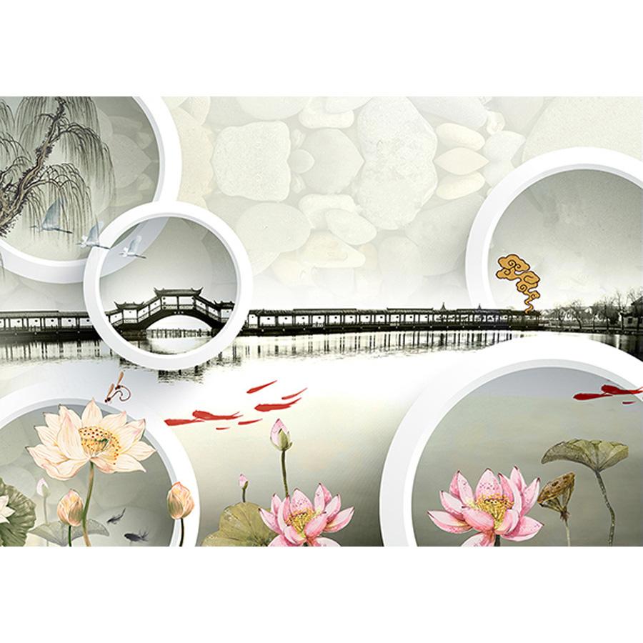 Tranh dán tường 3d | Tranh dán tường phong thủy hoa sen cá chép 3d 116