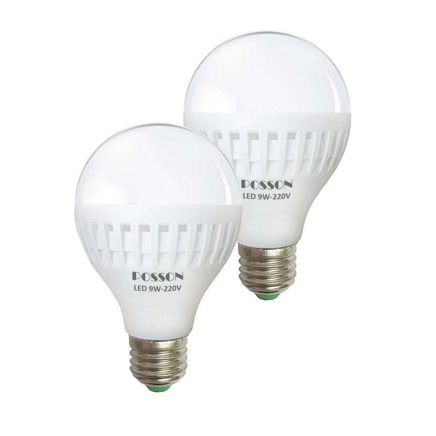 2 Bóng đèn Led 9W tiết kiệm điện sáng trắng Posson LB-N9