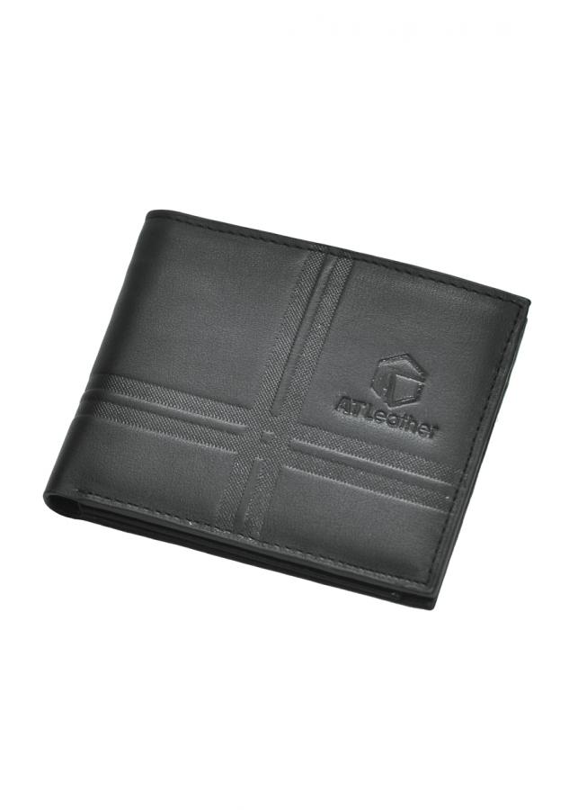 Ví nam da bò cao cấp AT Leather 048 (11.5 x 10.5 cm) - Đen