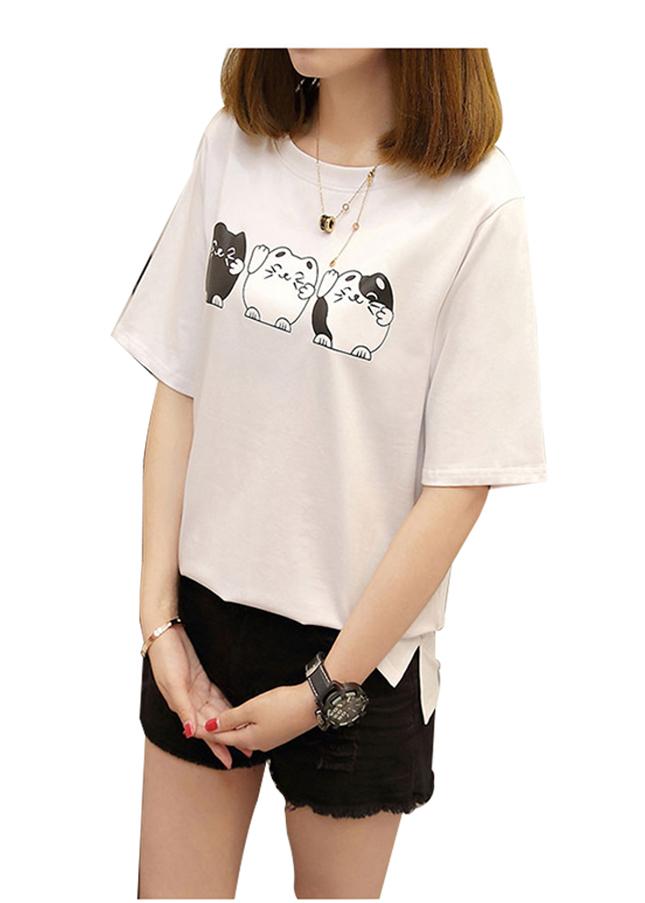 Áo thun nữ con mèo dễ thương màu trắng d467 thương hiệu Td