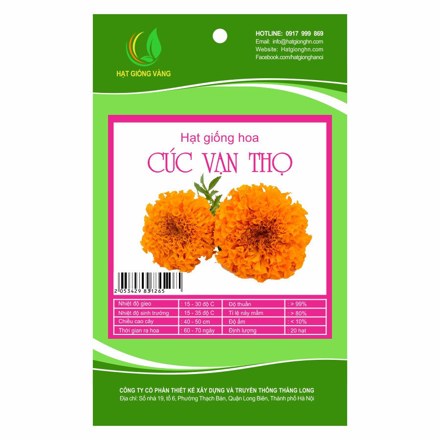 Combo 2 gói Hạt giống hoa cúc Vạn thọ Golden Seeds 20 Hạt
