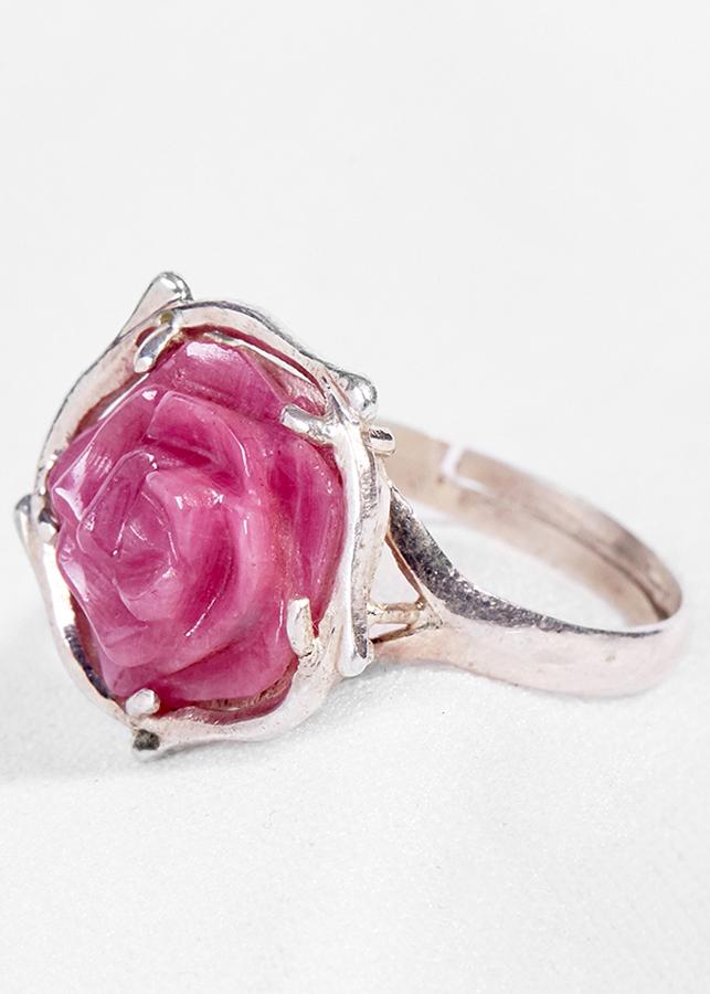 Nhẫn Bạc Đính Đá Hoa Mẫu Đơn Ruby Ngọc Quý Gemstones