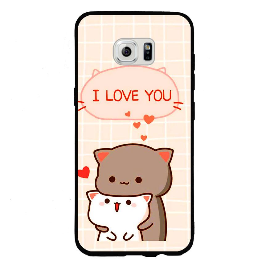 Ốp lưng viền TPU cho điện thoại Samsung Galaxy S6 Edge - I Love U