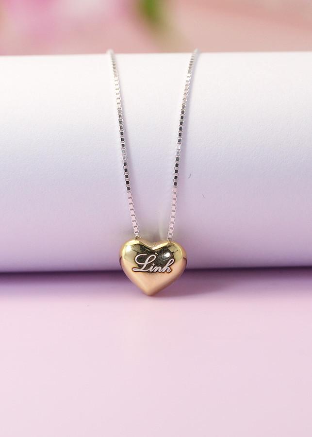 Dây chuyền bạc nữ đẹp trái tim phồng xi vàng DCN0352