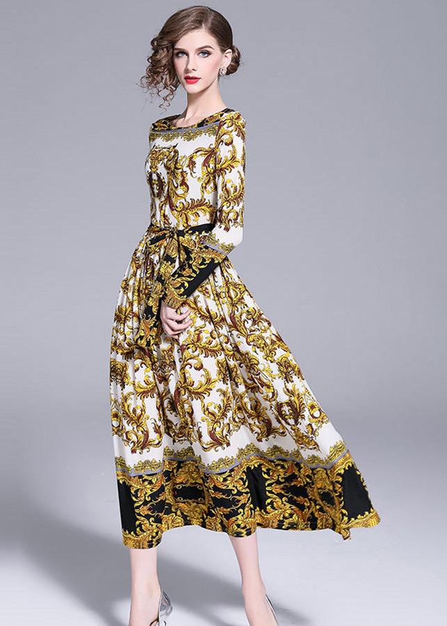 Đầm xòe châu âu dự tiệc kiểu đầm xòe in họa tiết cột eo ROMI 1709