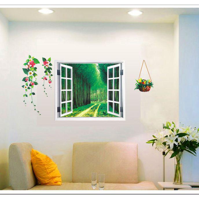 Decal dán tường Cửa sổ con đường xanh (58 x 103 cm)