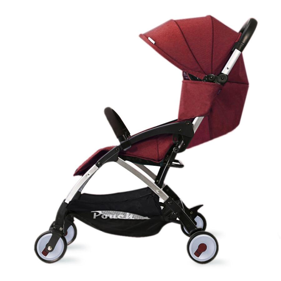 Xe đẩy em bé có ô che và gấp gọn Pouch A18 màu đỏ