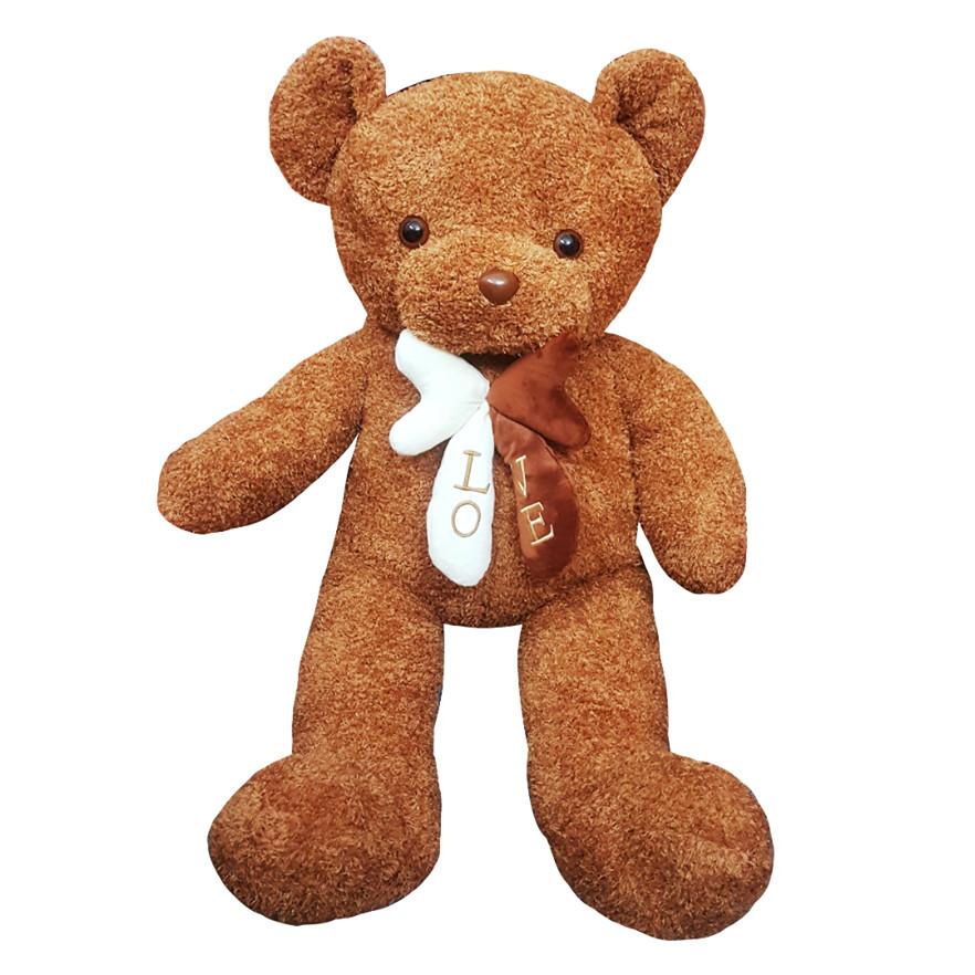 Gấu bông UNISU lông sợi chỉ đính nơ 1m - Màu vàng nâu