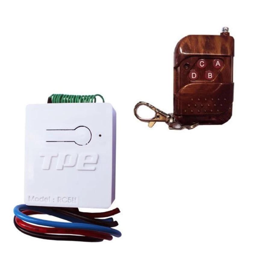 Công tắc điều khiển từ xa TPE RC5H kèm remote 4 nút vân gỗ