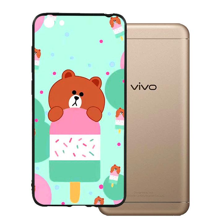 Ốp lưng viền TPU cho Vivo Y55 - Gấu brown 04
