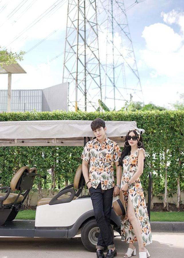 Bộ Áo Váy  sơ mi đi biển họa tiết hoa lá xẻ tà HOT 2019 - AV15