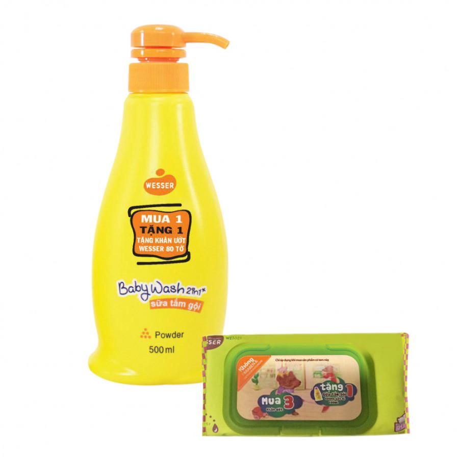 Sữa Tắm Gội Wesser 2In1 Hương Phấn (500ml) - Cam Và Tặng Kèm Khăn Ướt Wesser (80 Tờ)