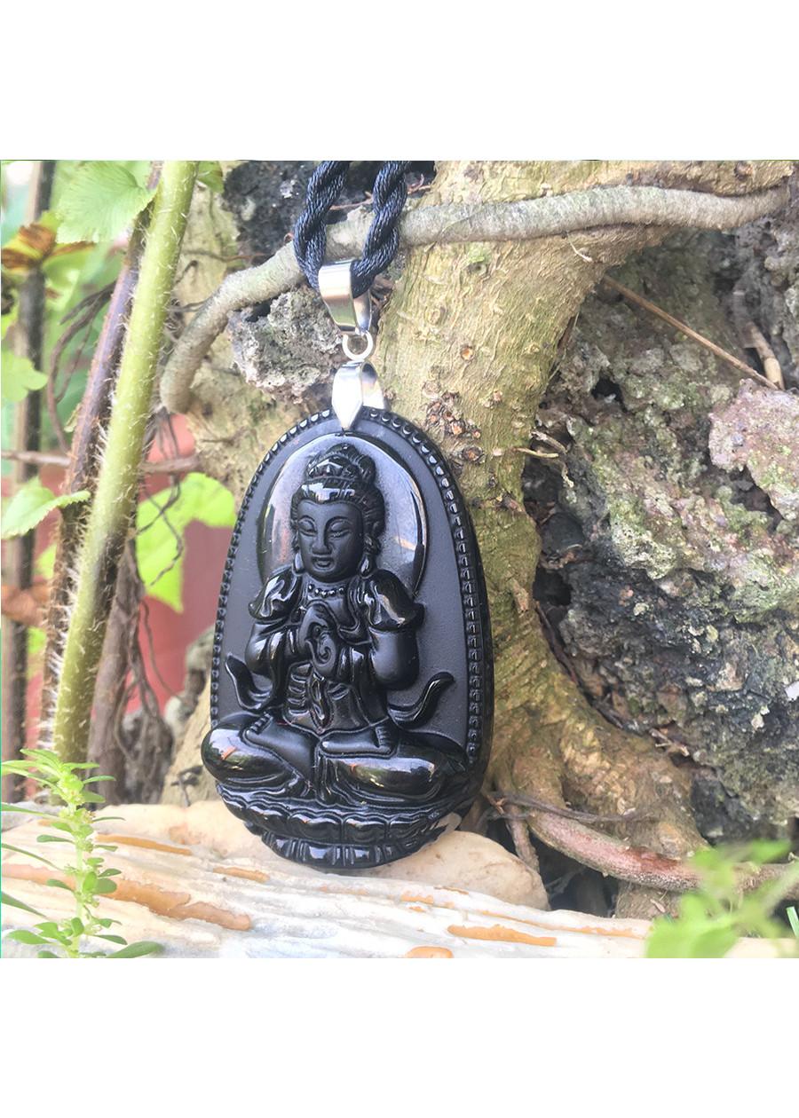 Mặt dây chuyền Phật bản mệnh tuổi Mùi,  Đá Núi Lửa Obsidian, Phật Như Lai Đại Nhật, Cỡ nhỏ,  AKO3