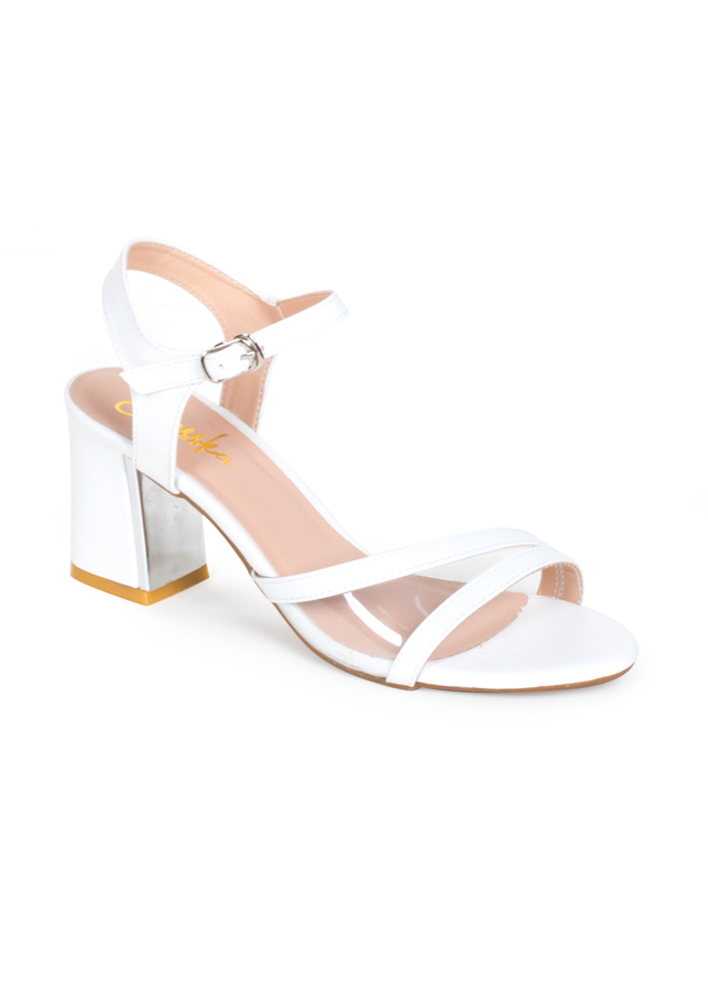 Giày Sandal Cao Gót Thời Trang Erosska Phối Mica Trong Cao 7cm EM020 - Màu trắng