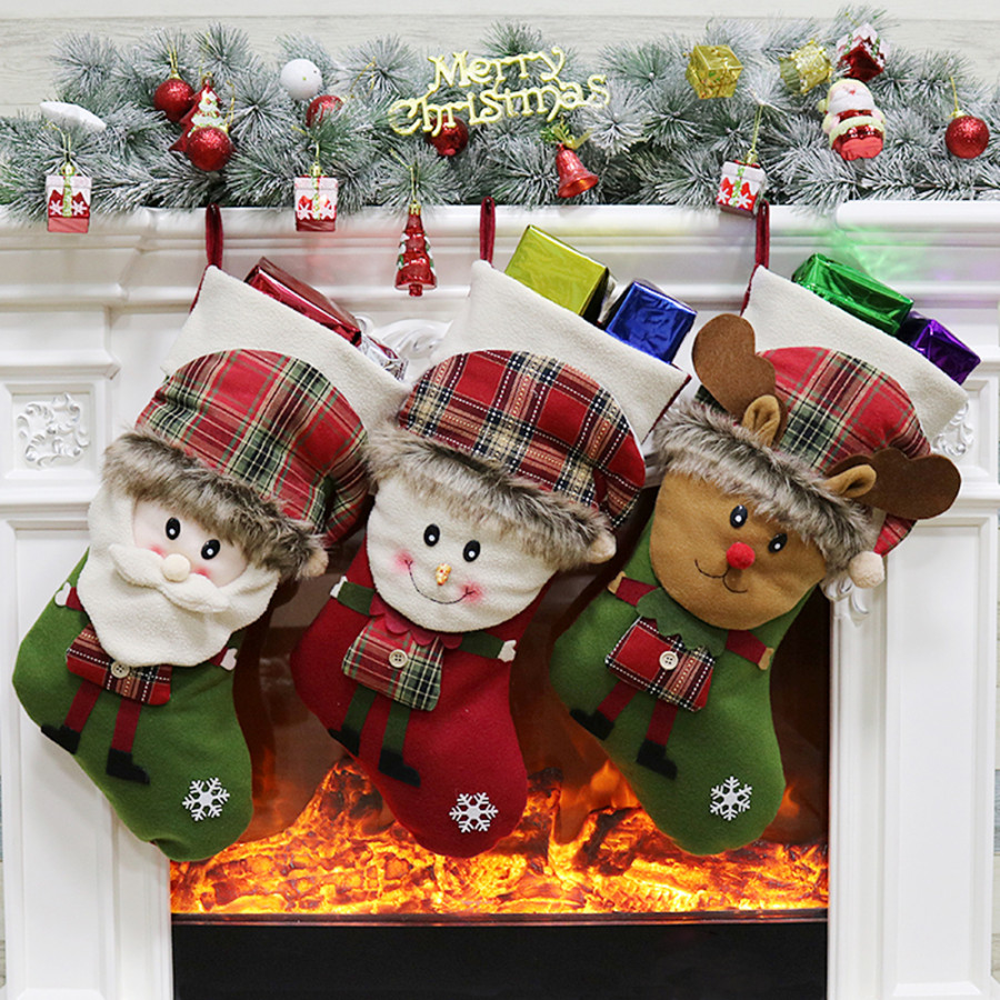 3pcs/set Non-Woven Christmas Hanging Stockings Santa Snowman Reindeer Gift Candy Bags Christmas Decorations Ornaments - (Size Style D)