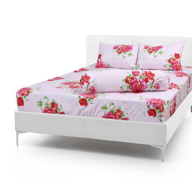 Bộ Drap Cotton Vải Thắng Lợi Áo Gối Chần Gòn 1,8x 2m hoa đỏ lá xanh