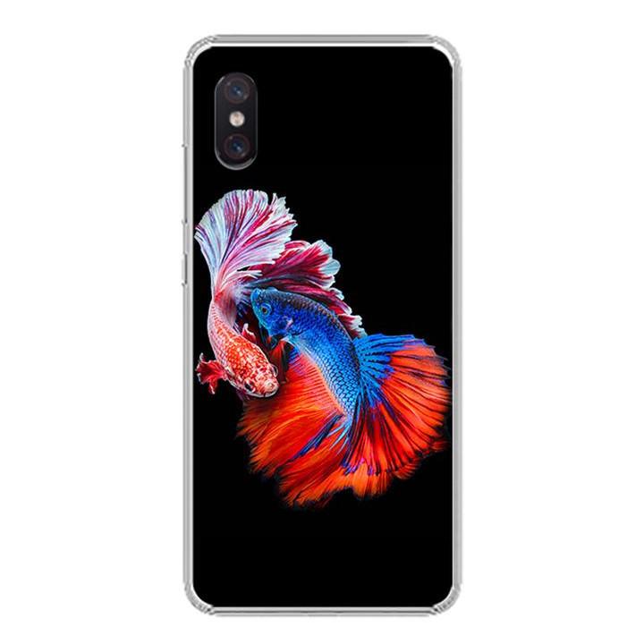 Ốp lưng cho Xiaomi Mi 8 Pro - 0222 FISHCOUPLE - Silicone dẻo - Hàng Chính Hãng