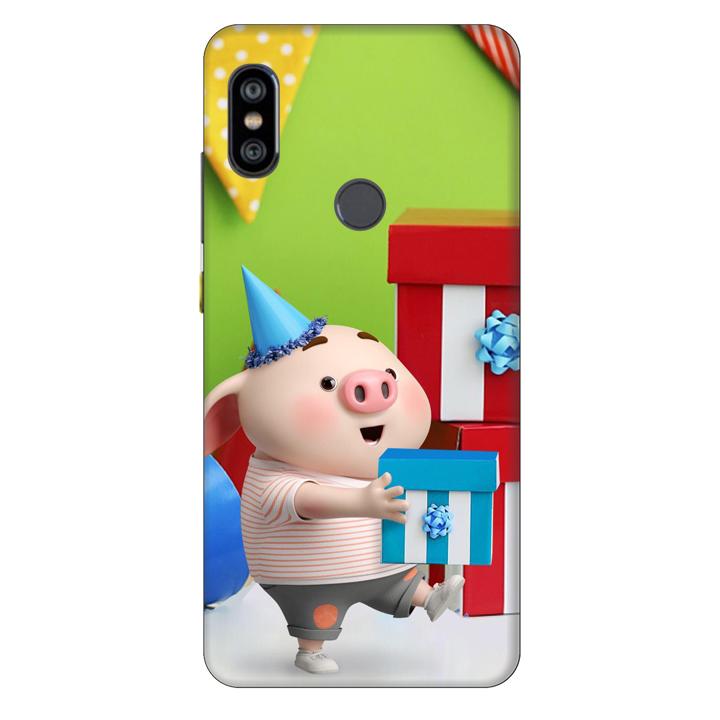 Ốp lưng nhựa cứng nhám dành cho Xiaomi Redmi Note 6 Pro in hình Heo Con Mừng Sinh Nhật