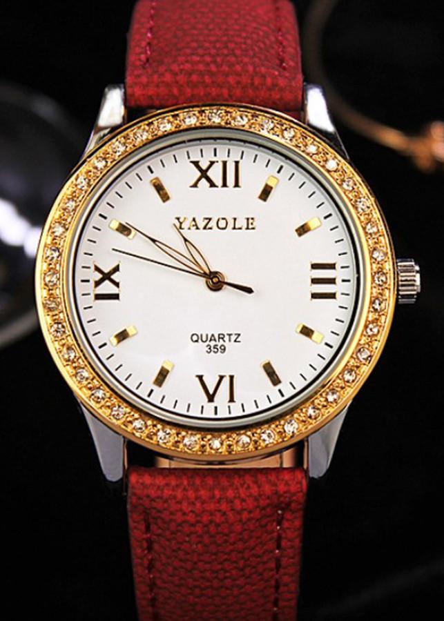 Đồng hồ Nữ dây da Yazole 359 - Đẳng cấp và Sang Trọng Màu Đỏ