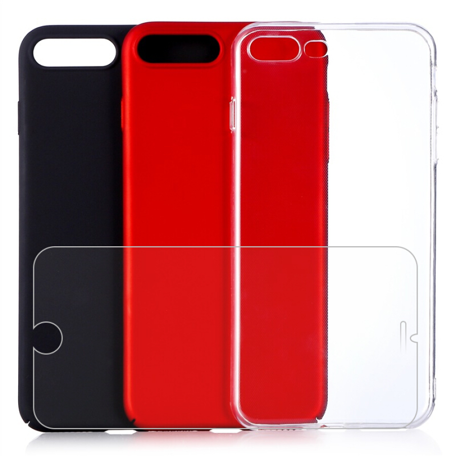 Combo 1 Ốp Lưng Silicone Trong Suốt + 2 Ốp Lưng Cứng + Miếng Dán Cường Lực Cho iPhone 7 Plus Dostyle