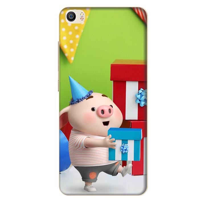 Ốp lưng nhựa cứng nhám dành cho Xiaomi Mi 5 in hình Heo Con Mừng Sinh Nhật
