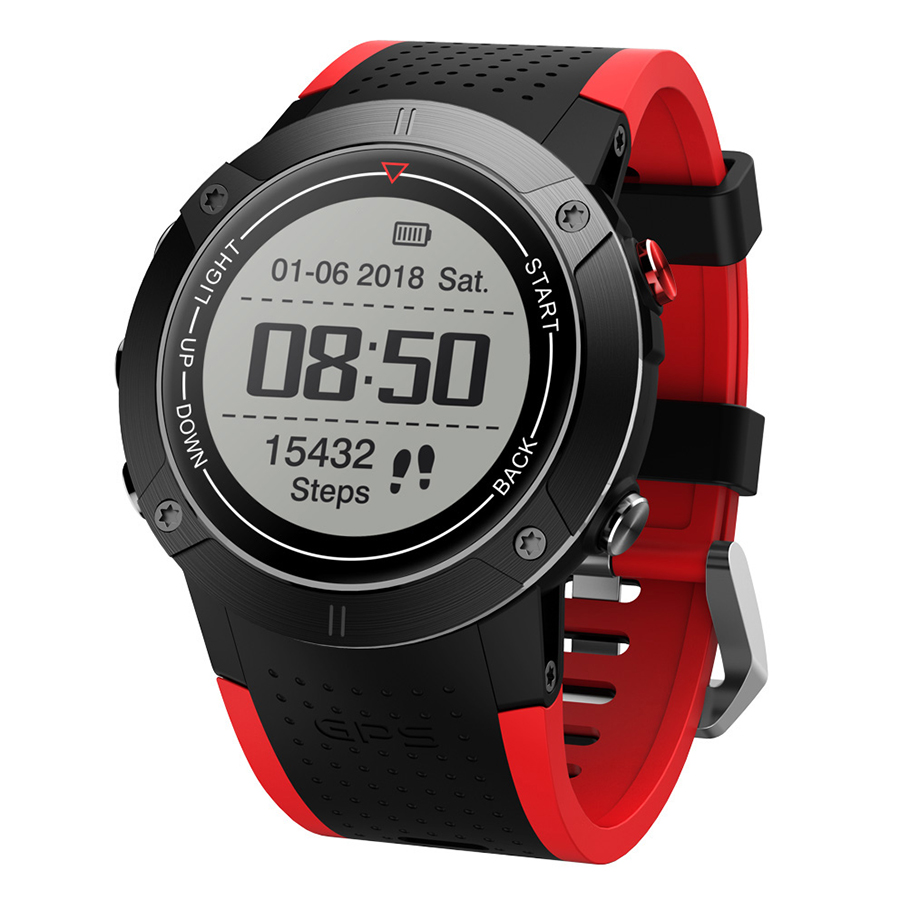 DM18 Smartwatch GPS Outdoor Sports Watch Backlight 30 Meters Waterproof 1.28inch Screen with Compass Function Pedometer - Black  Red