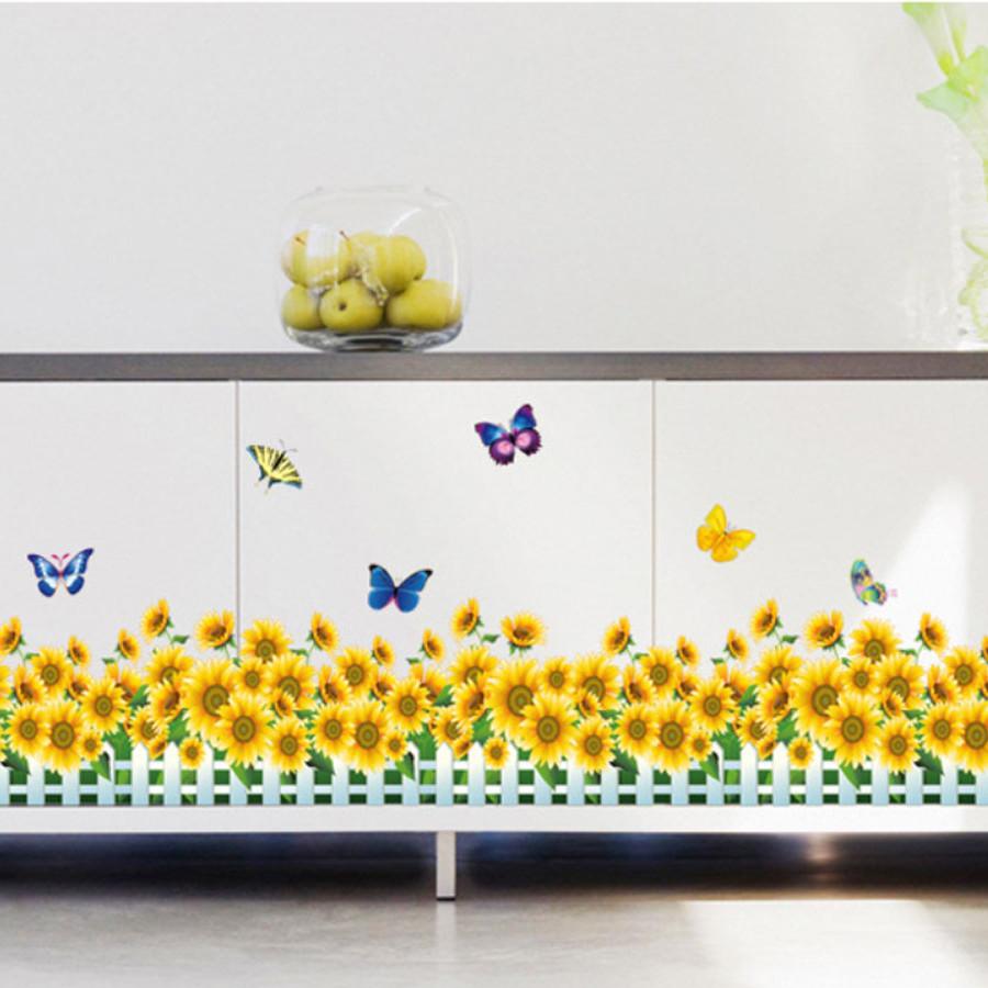 decal dán tường chân rào hoa hướng dương ay7210