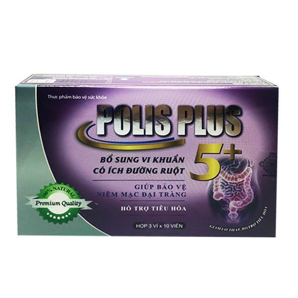 Thực phẩm chức năng Viên uống bổ sung vi khuẩn có ích đường ruột Polis Plus 5 dạng hộp giấy