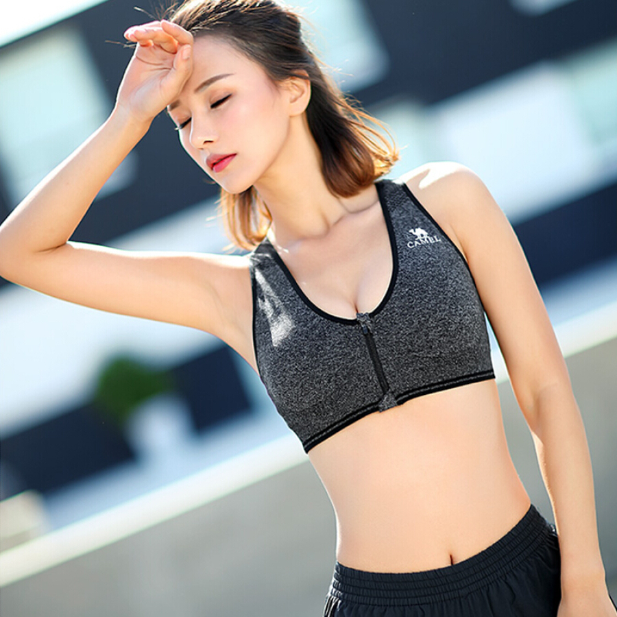 Camel (CAMEL) sports underwear female breathable running gathered vest-type no steel ring stereotyped yoga fitness bra without steel ring bra...