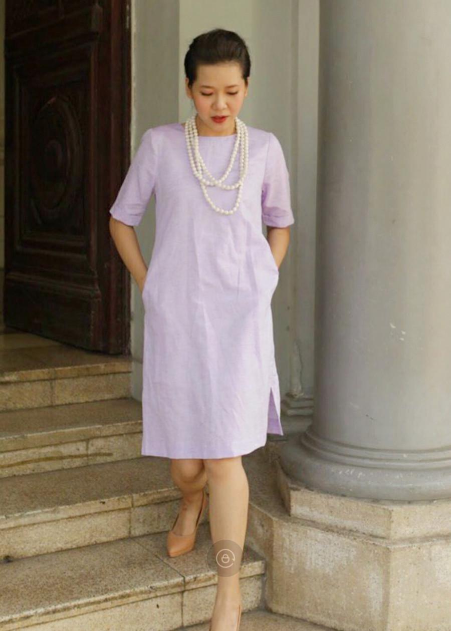 Đầm Xẻ Tà Chất Liệu Linen Cotton Thanh Lịch