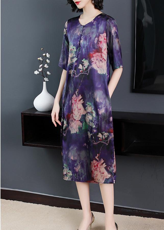 1109720992035 - Đầm suông form rộng kiểu đầm suông big size in hoa mẫu đơn phối nút GOTI1638