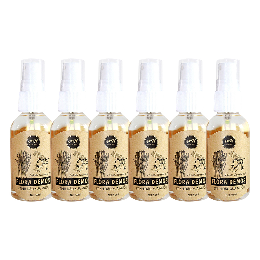 Combo 6 Chai Tinh Dầu Xua Muỗi MH Natural Skincare Flora Demos (50ml / Chai)