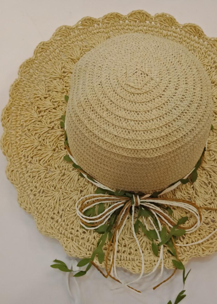 Mũ cói đi biển, Mũ cói vành rộng ( Màu kem)- Nikendo