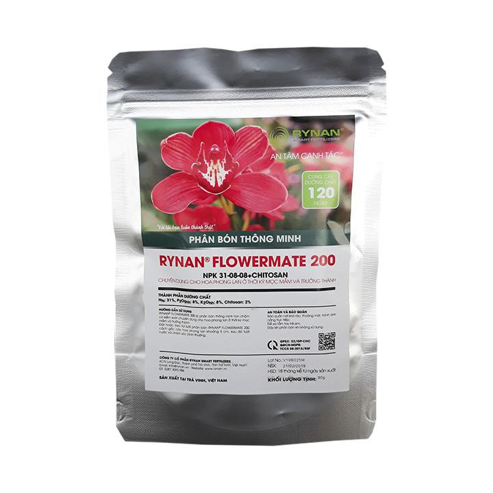 Phân Bón Thông Minh Rynan Flowermate 200 (Túi Lọc 90g) - Dùng Cho Hoa Kiểng, Phong Lan Thời Kỳ Cây Con Mọc Mầm
