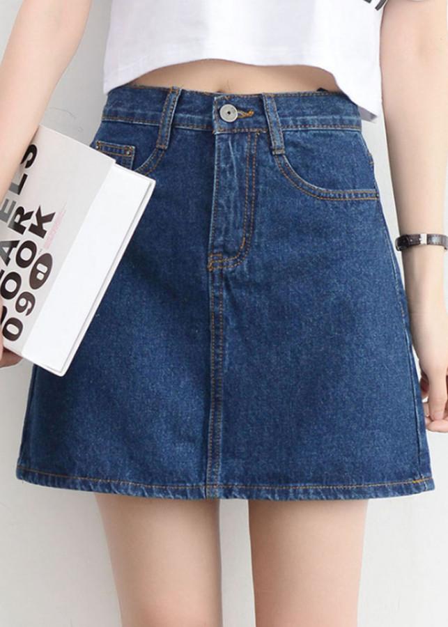 1063710877071 - Chân Váy Jeans Trơn, Chân Váy Chữ A