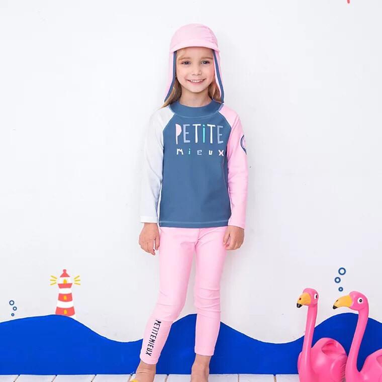 Bộ bơi hồng Petty dài rời kèm mũ che gáy bé gái từ 3 đến 14 tuổi