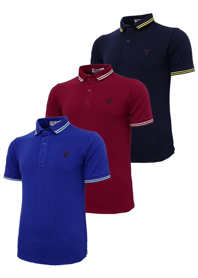 Bộ 3 áo thun nam cổ bẻ logo ép 3D chuẩn phong độ Pigofashion AHT16 xanh đen, đỏ, xanh bích