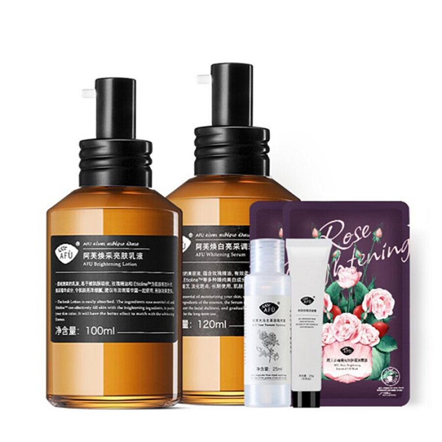 Bộ Skincare Rose Whitening AFU Gồm Sữa Dưỡng 120ml + Toner + Sữa Rửa Mặt + Mặt Nạ * 2