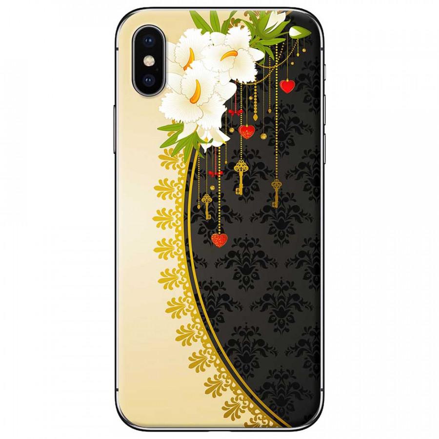 Ốp lưng dành cho iPhone X mẫu Hoa trắng vàng đen