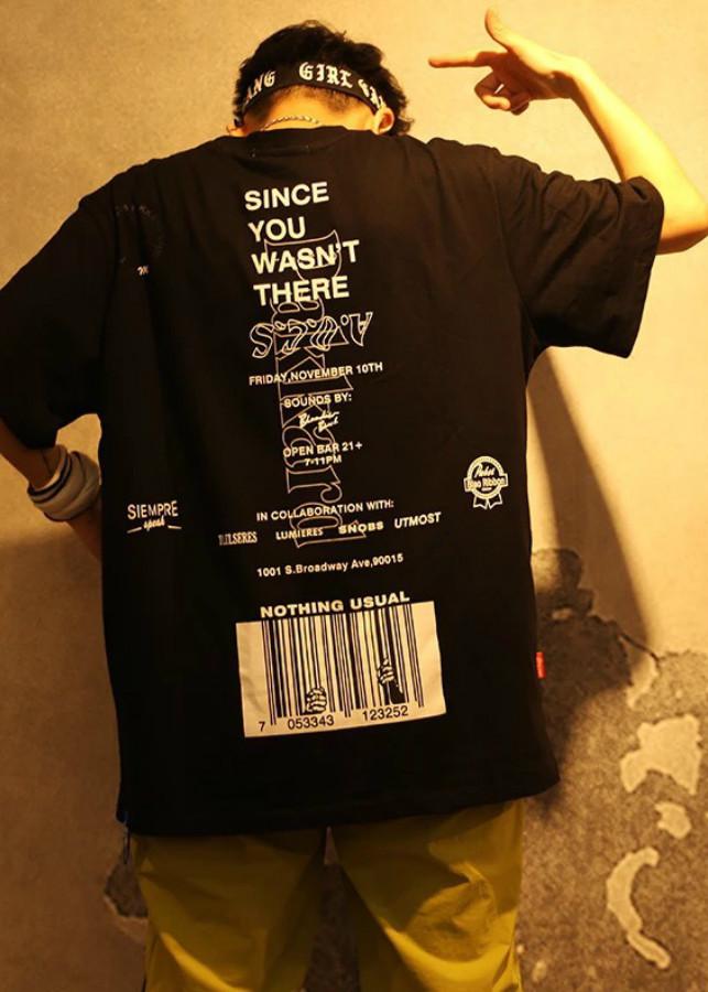 Áo thun tay lở unisex sọc nhí freesize 65kg