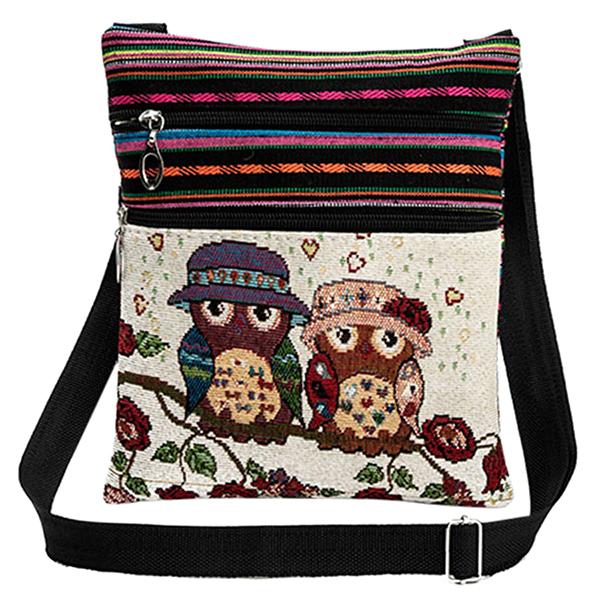 Women Crossbody Bag Owl Embroidery Jacquard Zipper Adjustable Strap Messenger Travel Shoulder Bag