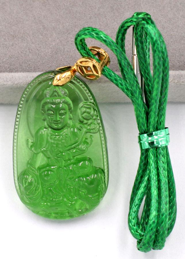 Dây chuyền mặt Phổ Hiền Bồ Tát - pha lê xanh lá 3.6cm DXFBXL2 - dây xanh - tuổi Thìn, Tỵ