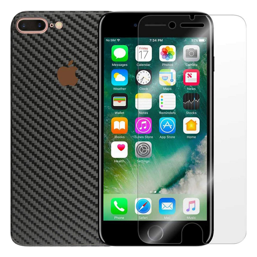 Bộ Kính Cường Lực iPhone 7 Plus / 8 Plus Remax (Trong Suốt) Và Miếng Dán Mặt Sau Vân Carbon (Đen) - Hàng Chính Hãng