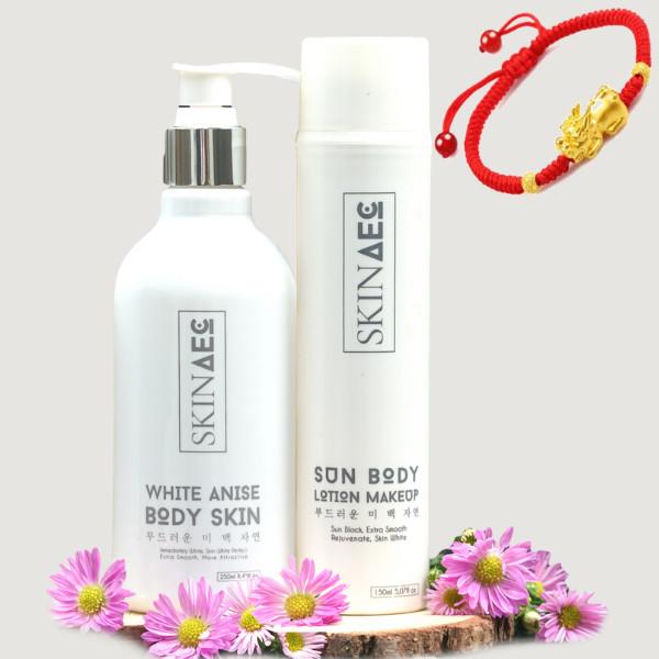 Combo Skin AEC Kích Trắng Bảo Vệ Da White Anise Body (250ml) - Skin AEC Sun Body Lotion Makeup (150ml) + tặng kèm vòng tay may mắn... - 802051 , 3596356197183 , 62_13935117 , 1960000 , Combo-Skin-AEC-Kich-Trang-Bao-Ve-Da-White-Anise-Body-250ml-Skin-AEC-Sun-Body-Lotion-Makeup-150ml-tang-kem-vong-tay-may-man...-62_13935117 , tiki.vn , Combo Skin AEC Kích Trắng Bảo Vệ Da White Anise Bod