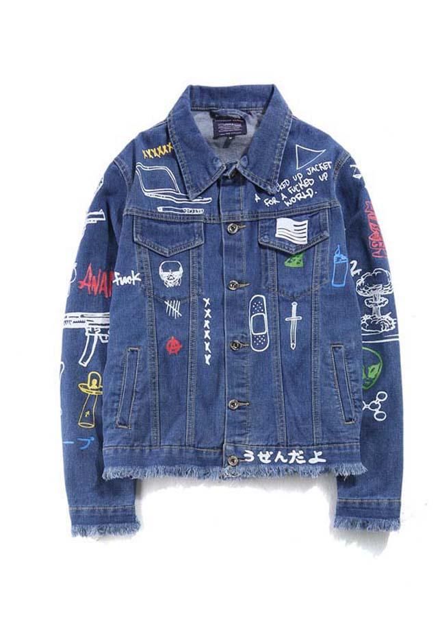 Áo khoác jeans họa tiết trẻ trung Mã: NK1144 - XANH
