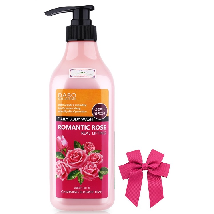 Sữa tắm hương hoa hồng sạch da thơm mát DABO ROMANTIC ROSE Hàn quốc ( 750ml) và kẹp nơ