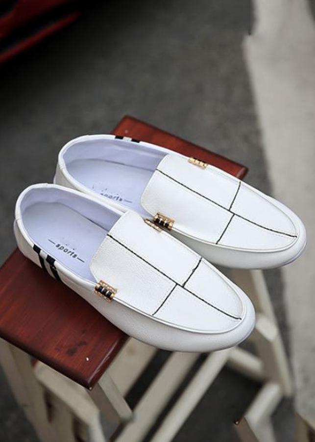 Giày lười da nam họa tiết kẻ dài