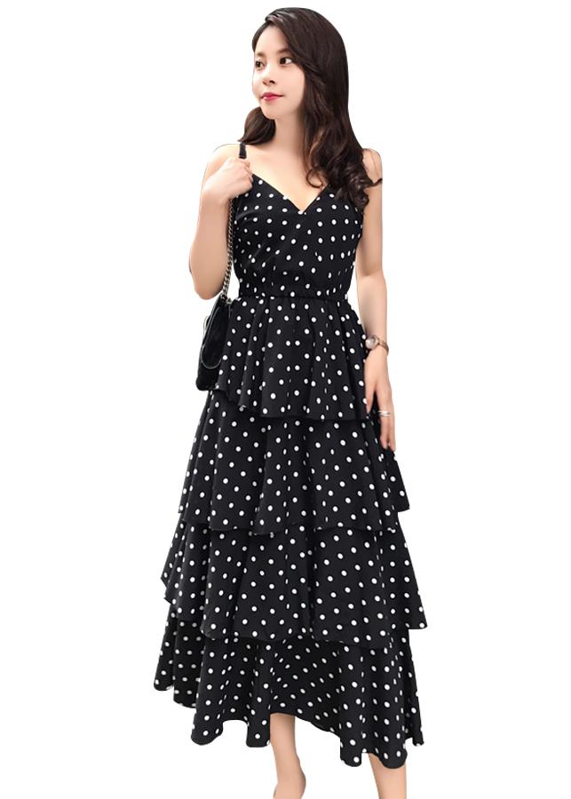 Đầm Maxi chấm bi 4 tầng